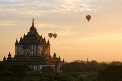 Ballooning at sunrise. Above the temples of bagan royalty free stock images