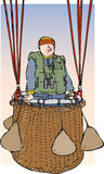 Balloonist. Man standing in balloon basket Royalty Free Stock Images