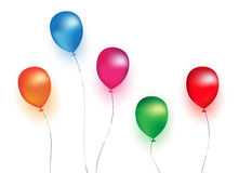 Balloons. Illustration of colorful balloons in white background Stock Photo