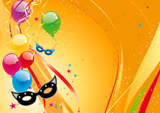 Balloons. Shiny colorful balloons and confetti Stock Images