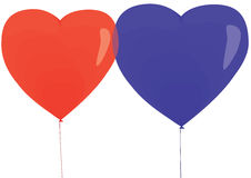 Balloons. Illustration raster, balloons in the form of hearts on a white background Stock Images