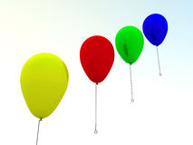 Balloons. Varicoloured balloons fly on air on a background sky stock illustration
