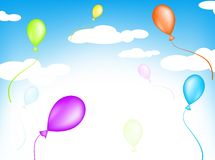 Balloons. Bright multicolored balloons flying in the sky Stock Photos