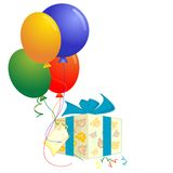 Balloons. A vector illustration of a gift box with four balloons royalty free illustration