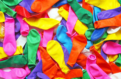 Balloons. Many colorful deflated party balloons Royalty Free Stock Images