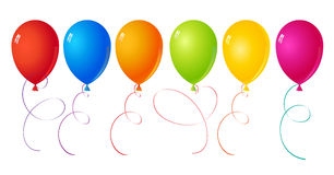 Balloons. Set of six balls of different colors for the holidays and decorating Stock Images