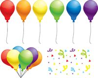 Balloons. A variety of colored balloons with confetti Royalty Free Stock Photos