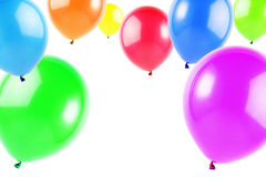 Balloons. Colorful flying balloons isolated on white, horizontal image Stock Photos