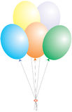 Balloons. A illustration of five balloons may use for birthday cards or invitations to the parties Stock Illustration