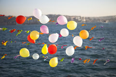Balloons. Colorful balloons on the sea. Holidays on the sea Royalty Free Stock Photos