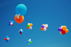 Balloons. On a background of the dark blue sky Stock Images