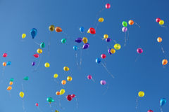 Balloons. Flying in the blue sky Royalty Free Stock Photography