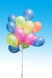 Balloons. Skyand balloons, pink, yellow, blue Stock Images