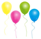 Balloons. Color Balloons With Ribbon Isolated on White Background royalty free illustration