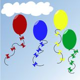 Balloons. Colorized balloons on blue sky Royalty Free Stock Photos
