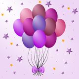 Balloons. Colorized purple party balloons and stars Royalty Free Stock Photos