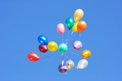 Balloons. Flying balloon after celebration in the clear blue sky Royalty Free Stock Images