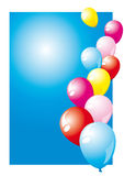 Balloons. Different colored balloons on a blue background Stock Photos