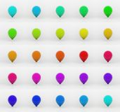 Balloons - 3D. 3D illustration - colored balloons in flight Stock Photo