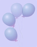 Balloons. Four on light purple background Royalty Free Stock Images