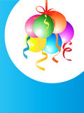 Balloons. Colourful birthday party balloons in a white round Stock Images