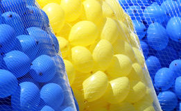 Balloons. Lots of yellow and blue balloons Stock Photo