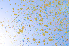 Balloons. Yellow and blue balloons in the sky Royalty Free Stock Photo