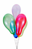 Balloons. Colourful, flying balloons on strings isolated on white background Stock Photos
