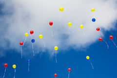 Balloons. Many colorful balloons before blue sky Royalty Free Stock Photo