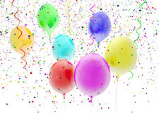 Balloons. Picture of balloons and confetti on white background Stock Images