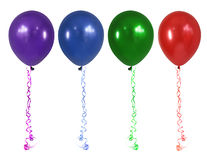 Balloons. Party balloons with curly ribbon, isolated on white Royalty Free Stock Photo