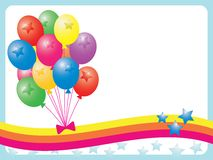 Balloons. Colorful illustration of balloons with copy space on stars background stock illustration