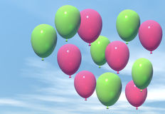 Balloons. Pink and green balloons float in a blue sky Royalty Free Stock Image