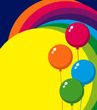 Balloons. Background with colorful balloons and rainbow Stock Image