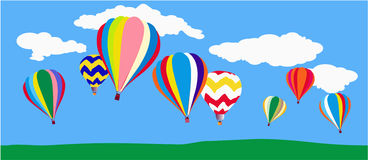 Balloons. Multi colored hot air balloons in the skies Stock Photos