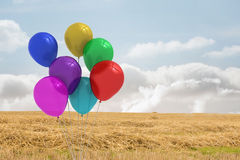 Balloons above a field Stock Photos
