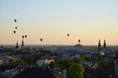 Balloons above Opole. This photo presents beautiful balloons royalty free stock images