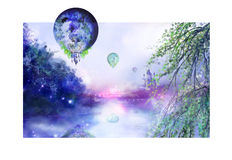 Balloons above the river Royalty Free Stock Photography