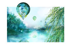 Balloons above the river Royalty Free Stock Image