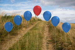 Balloons above sand dunes Royalty Free Stock Image