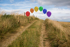 Balloons above sand dunes Stock Photography