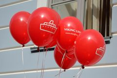 Balloons with the advertising company Viking Line. Royalty Free Stock Image