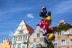 Balloons against ancient Polish city of Olsztyn Royalty Free Stock Photo