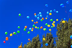 Balloons against the blue sky Stock Photography