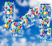 Balloons against the sky. Happy Birthday. 3d illustration Stock Photo