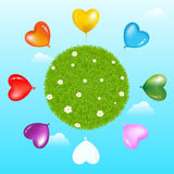 Balloons Around Grass Ball With. Vector. Colorful Heart Shape Balloons Around Grass Ball With Flowers And Clouds Royalty Free Stock Photography
