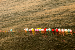 Balloons as targets on water. Balloons in shooting range as targets on water Stock Photos