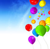 Balloons Away. Bright colorful balloons flying away over blue sky background stock illustration