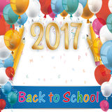 Balloons Back To School Pencil Letters 2017. Balloons with letters and text 2017, Back to School stock illustration