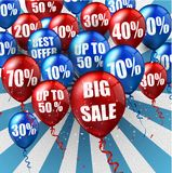Balloons background with discounts sale Stock Photo